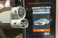 Electric mobility with the Taycan Turbo S: CCS plug and Porsche charging station