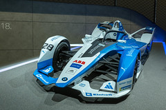 Blue-white electric racing car by BMW for Formel-E motor sports