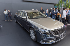 Luxurious car and luxury limousine Mercedes-Maybach S650 Pullman, 21-foot long, redesigned grille & triple-band LED daytime