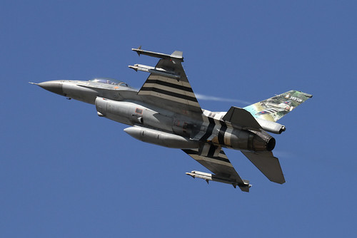 Belgian Air Force F16AM with D-day stripes