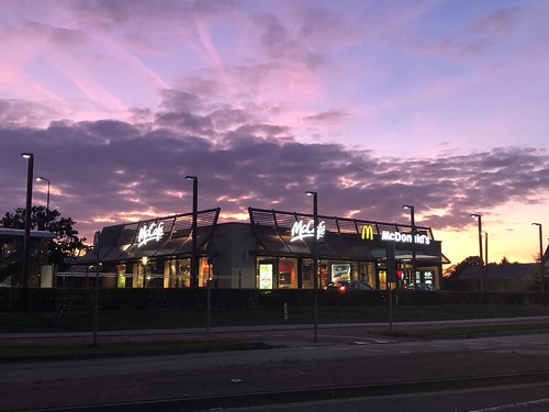 Beautiful purple sunset McDonalds Geldrop, The Netherlands