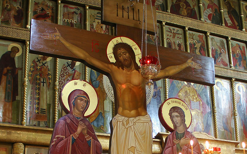Holy Russia, Moscow, Jesus Christ Crucifix - the Iconostasis Fragment of the Kazansky Cathedral (Our Lady of Kazan, 1625), Red Square, Tverskoy district.