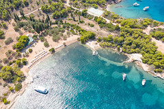 Myrtoan Sea at Zogeria Beach on Spetses, Greece