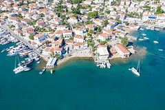 Yachts in Mpaltizas Port on Spetses, Greece