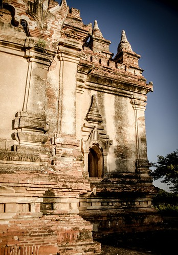 Wide View Corner of Temple in Late Afternoon Sun, Burma