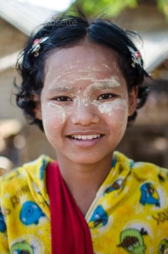 Burmese Girl with Thanaka and Yellow Pyjamas