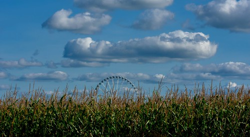 Ferris Wheel somewhere in a cornfield !  This  Mondail ferris Wheel is here for repair and is going to London !