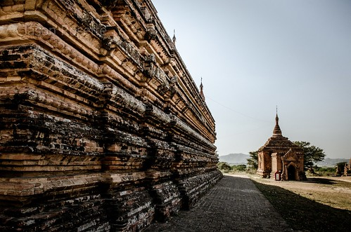 Perspective of Temple Wall and Small Structure, Burma