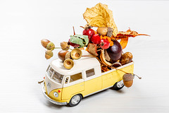 Metal pickup model, body filled with dry leaves, acorns and chestnuts on a white wooden background