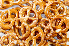Pretzels with beer background