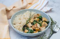 Lemon Tofu With Rice and Kale
