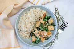 Tofu in a Lemon Sauce with Rice and Kale