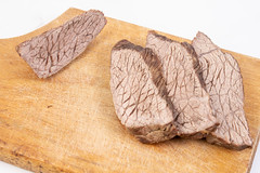 Sliced Boiled Beef on the wooden cutting board