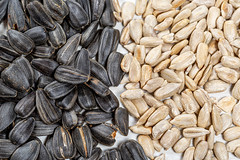 Peeled sunflower seeds and seeds with shells