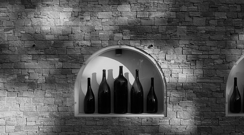wall with bottles