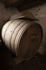 Wine barrel in an old wine cellar
