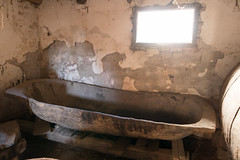 Old wooden tub in the cellar