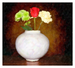White Vase with Bouquet