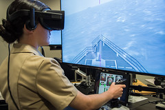 Students of Officer Candidate School (OCS) class 01-20 are first to test the new Conning Officer Virtual Environment (COVE) cart system at Officer Training Command