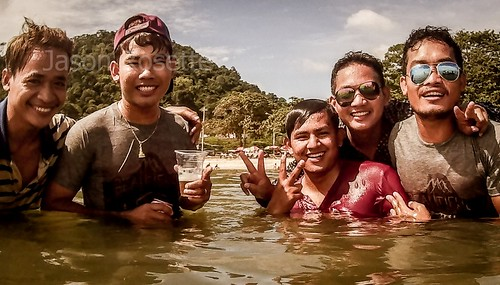 Cambodian Teens Party in Shallow Water at the Sea