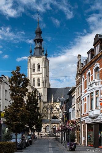 Tienen, Nieuwstraat met de Onze-Lieve-Vrouw-ten-Poelkerk.