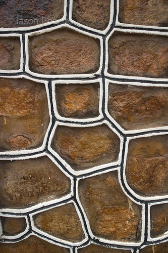 Detail of Stone Shaped Patterns on Concrete Wall (Vertical)