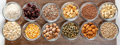 Top view, assortment of cereals, nuts, grains and seeds