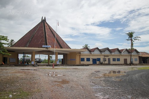 Wide view vintage railroad station in Kampot Cambodia