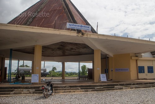 Front view vintage railroad station in Kampot, Cambodia