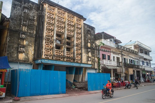 Wide view old cinema house in Kampot, the Makara 7, under conversion