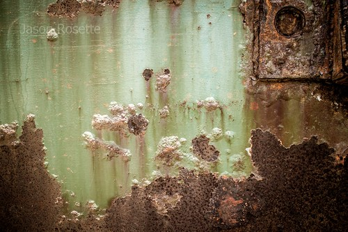 Texture of Bubbled Paint and Rusty Metal by Seaside