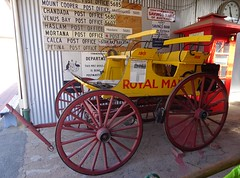 Streaky Bay. An old post cart and Post Office signs in the Streaky Bay Museum on Eyre Peninsula.