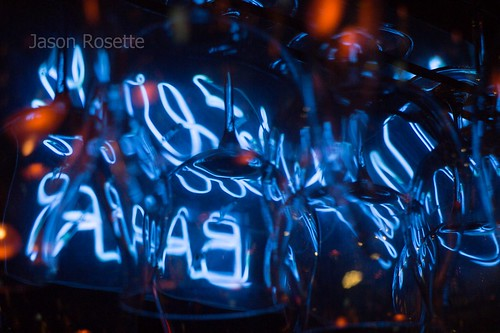 Abstract View of Blue Neon Among Hanging Glasses (#3)