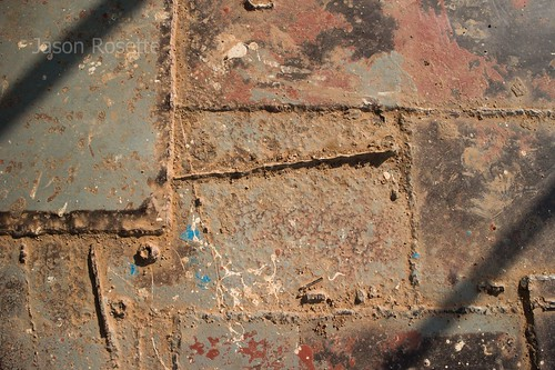 Detail of Grungy Metal Plates on Deck of Rural Ferry (#3)