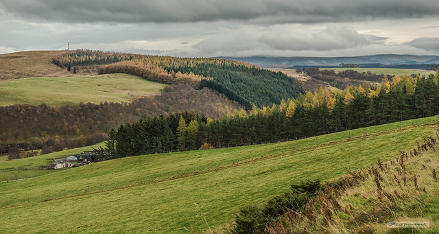 Gentler hills of Moray above the River Avon near Bridge of Brown.