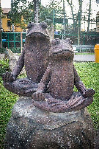 Statue of Meditating Frogs Near the Zoo in Saigon