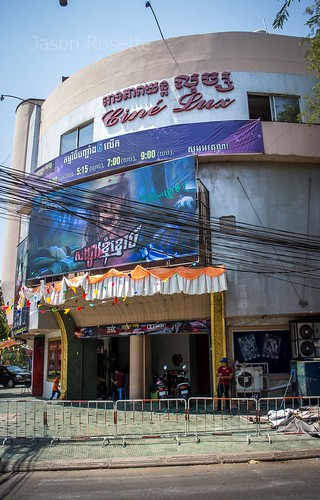 Old Lux Cinema House in Phnom Penh, with Horror Movie Showing