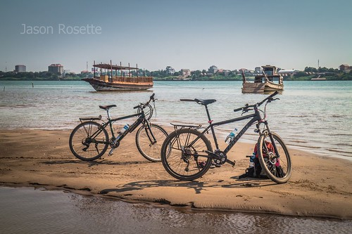 Mountain Bikes on a Sandbar in the Mekong River (wider)