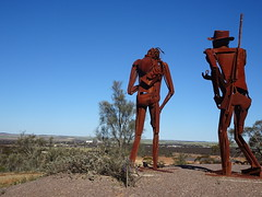 Kimba. Eyre Peninsula. The rusty iron sculptures of explorer Edward John Eyre and his Aboriginal friend Wylie who helped him cross the Nullarbor Plain in 1844. Sited on a hill  outside the town of Kimba.