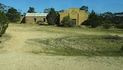 Koongawa on Eyre Peninsula between Kyancutta and Kimba. The old stone original institute or hall  1920 and to the right the  War  Memorial Hall 1950.