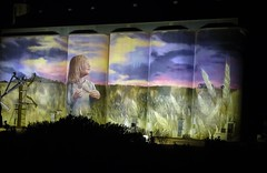 Kimba. Eyre Peninsula. The night time illuminated silo art on some of the town's wheat silos.