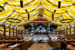 Interior of Paulaner beer tent at Oktoberfest