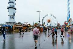 People walking at the festive village of Oktoberfest