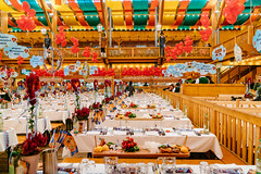 Endless rows of tables full with food prepared for the start of Oktoberfest