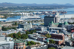 Quebec City with Cruising Ship Aerial View