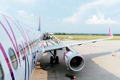 Passangers boarding WizzAir airplane