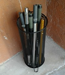 Umbrella stand as frame pump stand