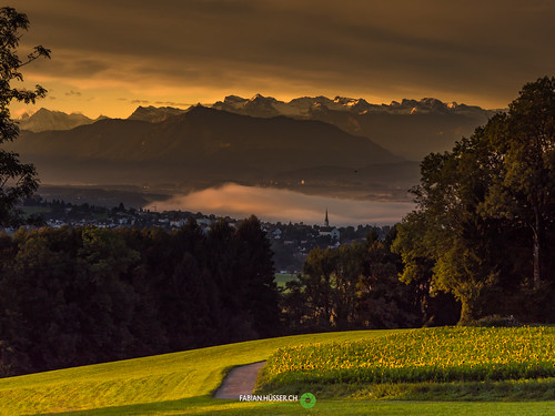 view to Swiss alps
