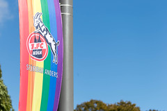 """Athletes against homophobia: German soccer team 1. FC Köln celebrates  Diverstity Day with flags in rainbow colours and text """"Spürbar anders"""""""