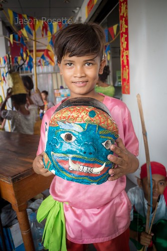 Young Cambodian Traditional Performer with Ogre Mask (Wider)